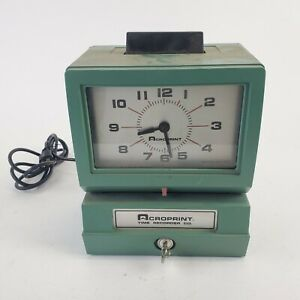 Acroprint Time Clock Model 125nr4 With Key Punch Card Recorder Green Usa