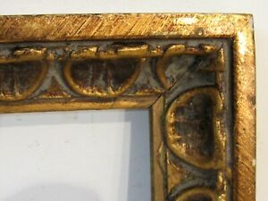 Art Nouveau Art Deco Hand Carved Gilded Wood Frame For Painting 14 X 6 Inch