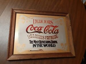 Vintage Coca Cola Mirror Sign/Picture Relieves Fatigue Coke Framed Advertisement