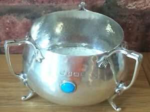 Magnificent 1932 Hammered Silver Trio Handled Turquoise Cabouchon Loving Cup