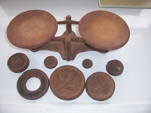 Vintage Balance Scale Greenwood Co With 7 Weights Old Rusty