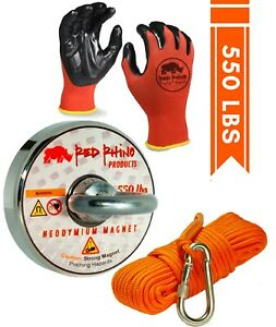 Fishing Magnet Military Grade Neodymium Magnet W gloves And Rope xl Carabiner
