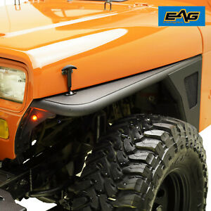 Eag Front Fender Flares Rocker Guard Tube W led Eagle Light Fits 87 95 Jeep Yj