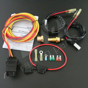 Dual Electric Cooling Fan Wiring Kit Harness Thermostat Temp Switch Sensor Relay