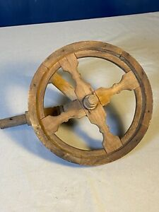 Antique Wood Spoke Pulley Wheel W Handle Chore Household Implement No Cracks