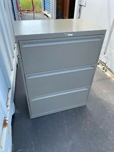 Used Commercial Lateral File Cabinets 3 Drawer With Key 36 Wide