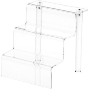 Plymor Clear Acrylic 3 step Display Stairs 6 25 H X 6 W X 6 5 D