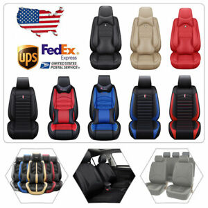 Us Pu Leather Car Seat Covers Waterproof Protector 5 Seats Front Back Full Set