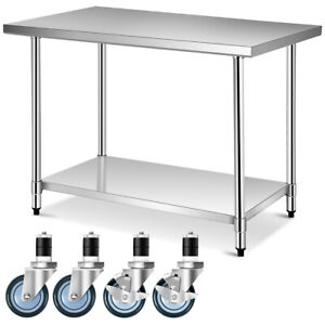 30 X 48 Stainless Steel Commercial Kitchen Nsf Home Work Table W 4 Wheels