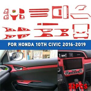 Fit For Honda 10th Civic 2016 2019 32pcs Sticker Red Interior Accessories
