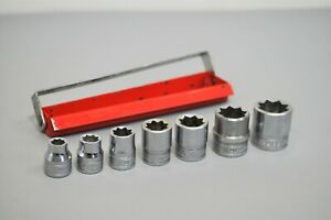 Snap on Tools Usa 7pc 3 8 Drive Sae 8 Point Double Square Socket Set Vintage