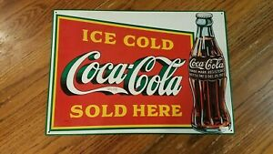Ice Cold Coca Cola Sold Here Vintage Tin Sign, 1989