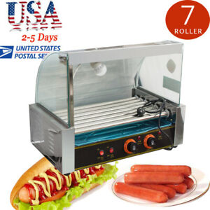 Top Sale Commercial 18 Hot Dog Hotdog 7 Roller Grill Cooker Machine W cover Fda