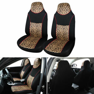 Universal Car Front Seat Cover Set Soft Plush Leopard Print Bucket For Truck Suv