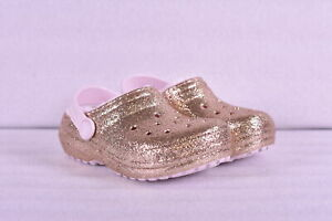Little GIrl Crocs Classic Glitter Lined Clogs Gold w Pink Lining $19.99