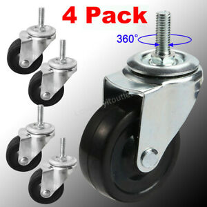 4 Pack Of 3 General Purpose Threaded Stem Caster 3 8 Swivel Caster Rubber