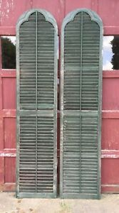 Large 24x109 Antique Pair Gothic Arched Dome Top Wood Shutters Tall Vtg 448 20e