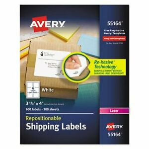 Avery Re hesive Laser Labels 3 1 3 X 4 White 600 pack ave55164