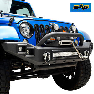 Eag Front Bumper With Led Lights And Winch Plate Fit For 07 18 Jeep Wrangler Jk