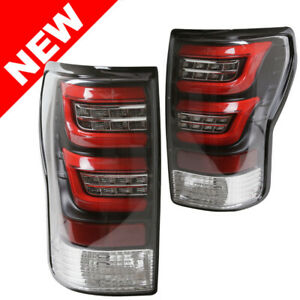 For 07 13 Toyota Tundra Led Taillights Clear Lens Black Housing Red Light Bar