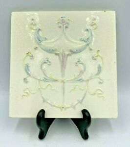 Antique 19th C Cambridge Mantel Wall Tile Victorian High Relief Torch Design