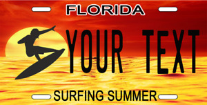 Florida Personalized Custom License Plate Tag For Auto Endless Surfing Summer