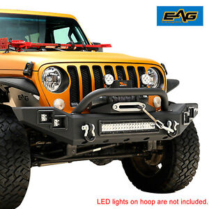 Eag Black Front Bumper Heavy Duty With Led Bar Fit For 18 20 Jeep Wrangler Jl