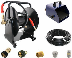 Scheiffer Sewer Jetter Kit Foot Pedal Hose Reel 1 8 X 200 Hose And Nozzles