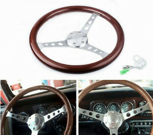 15 380mm Classic Mahogany Wood Grain Brown Trim Steering Wheel W horn Button Us