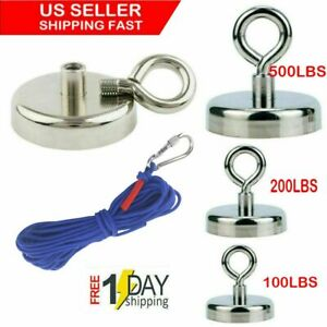 Us Fishing Magnet Kit Up 100 500 Lb Pull Force Super Strong Neodymium 10m Rope