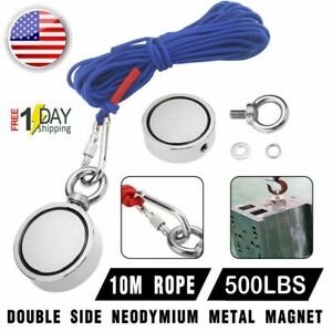 Us 500lbs Big Fishing Magnet Kit Pulling Force Strong Neodymium rope carabiner