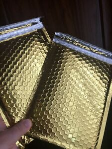 50 8 5 x12 Glamour Metallic Gold Poly Bubble Mailers Envelopes Bags
