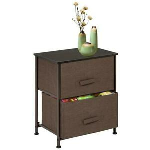 Fabric Drawer Dresser Storage Organizer Unit Side Table Non woven 2 Drawers