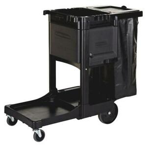 Rubbermaid Janitor Cart 21 8x46x38 In Utility Hook Collection Bag Cleaning Black