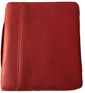 Levenger Red Leather Padfolio carry Handle zip Around divided Section nwot
