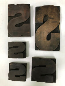 Vintage Letterpress Printing Wood Type All Large Letter S Lot Of 5