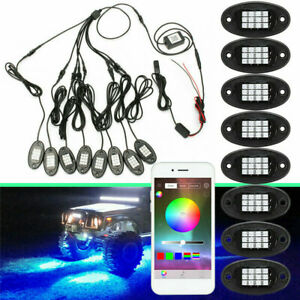 8pcs Led Rgb Car Underbody Light Bluetooth Wireless Control Rock Lamp Off road