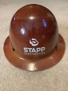 Vintage Msa Hard Hat Skullgard White And Brown Stapp Construction