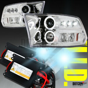 For 2009 2018 Dodge Ram Halo Led Clear Projector Headlights xenon 6000k Hid Kit