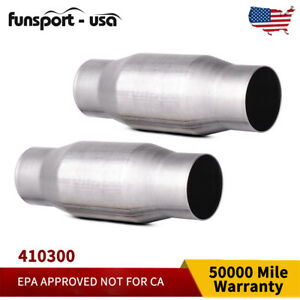 1set 2pc 3 In out Universal Catalytic Converter Epa Approved Stainless Steel