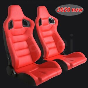 2x Car Recline Racing Seats Red Leather Full Wraped Seats W Slides Sport Bucket