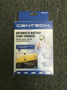 Cen tech Automatic Battery Float Charger 12v Trickle Motorcycle Car Boat Mower
