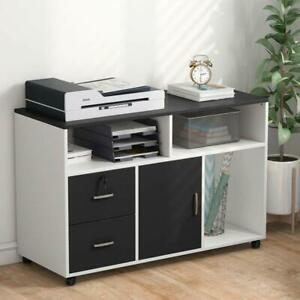 Tribesigns Mobile Wood File Cabinet 2 Drawer Storage Printer Stand Home Office