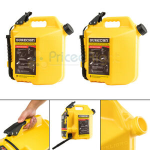 2 Surecan 5 Gallon Self Venting Diesel Fuel Cans With Rotating Spout Yellow