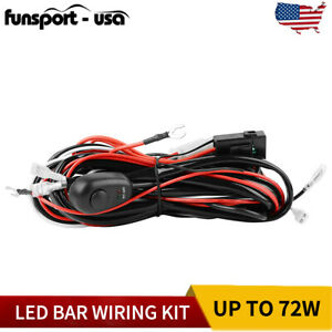 Led Light Bar Wiring Harness Kit 12v 40amp 18awg Fuse Relay On off Switch