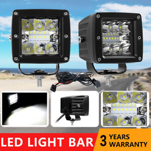 2x 4 Led Work Light Bar Combo Offroad Driving Fog Pods Car Truck Atv 4wd wire