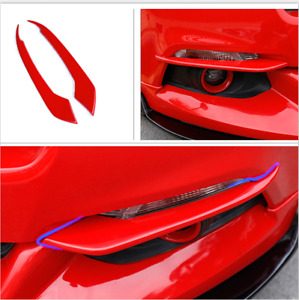 1pair Red Car Front Fog Light Lamp Cover Trim For Ford Mustang 2015 2017