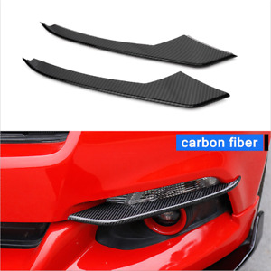 Pair Carbon Fiber Car Front Fog Light Lamp Cover Trim For Ford Mustang 2015 2017