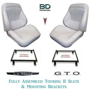 1964 Lemans Gto Touring Ii Front Bucket Seats Assembled Adapter Brackets