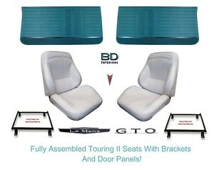 1964 Lemans Gto Touring Ii Assembled Bucket Seats Adapter Brackets Panels